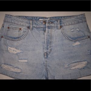 Women's high waisted distressed denim shorts